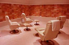 Reclining chairs in a salt therapy room